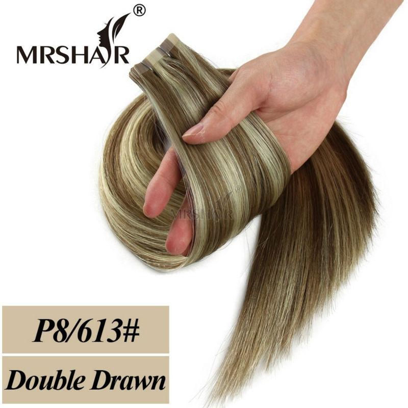 MRSHAIR Double Bande Dessinée Dans Les Extensions De Cheveux Humains - Cheveux humains (blanc) - Photo 2