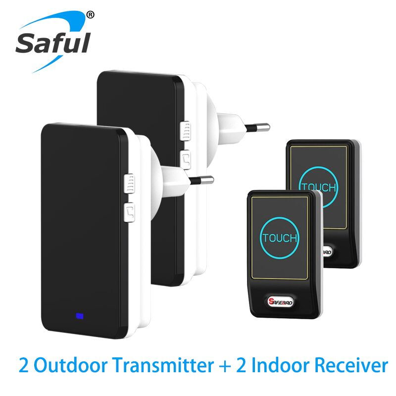 Saful Wireless DoorBell Waterproof EU/US/AU/UK button Plug 28 Chimes 2 Ourdoor Transmitter + 2 Indoor Receiver door bell touch doorbell with eu us plug in wireless waterproof door bell touch button 28 chimes 1 ourdoor transmitter 2 indoor receiver