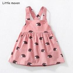 Little maven/детская брендовая одежда 2018 Осень Одежда для маленьких девочек из хлопка с цветочным принтом Сарафан для девочек животных платья бе...