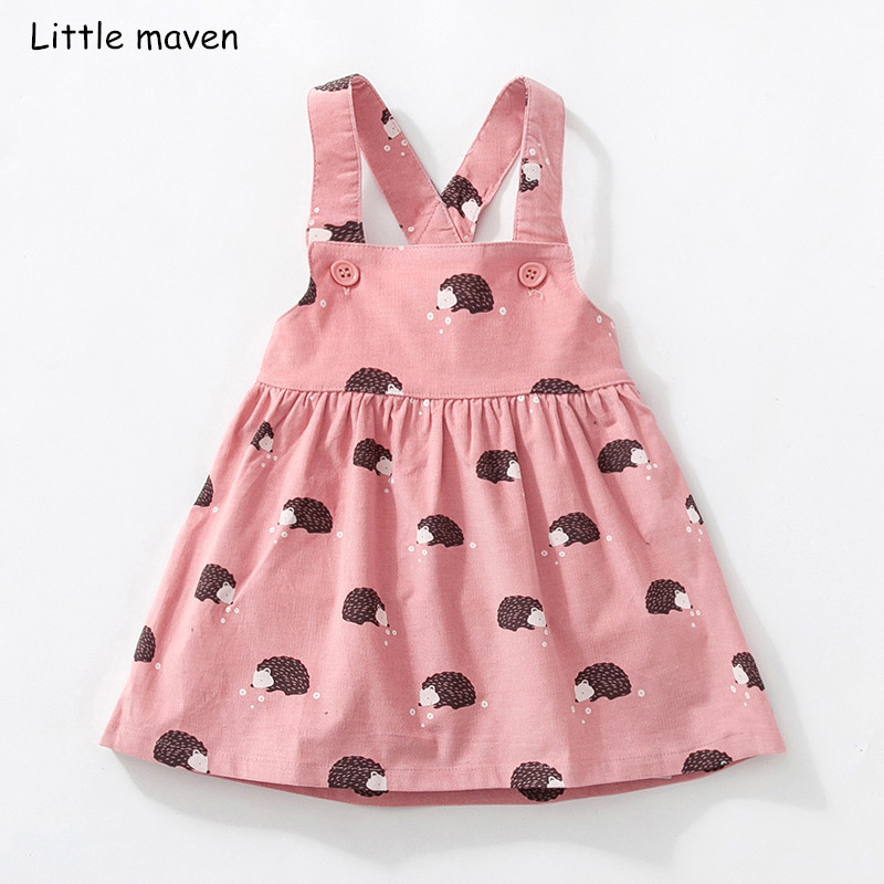 Little maven kids brand clothes 2018 autumn baby girls clothes Cotton flower print sundress girl animal sleeveless dresses stylish jewel neck sleeveless print spliced women s sundress