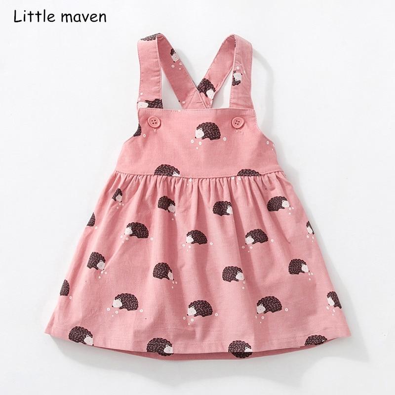 Poco maven niños ropa de marca 2018 otoño bebé niñas ropa de algodón estampado de flores vestido de chica animal vestidos sin mangas