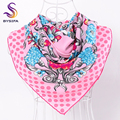[BYSIFA] Pink Dot Twill Scarves Wraps For Ladies Fashion Brand Winter Large Square Scarves Spring Autumn Sweet Floral Silk Scarf