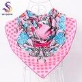 [BYSIFA] rosa Dot Sarja Cachecóis Wraps Para Senhoras de Inverno Da Marca de Moda Primavera Outono Doce Floral Lenço De Seda Grandes Lenços Quadrados