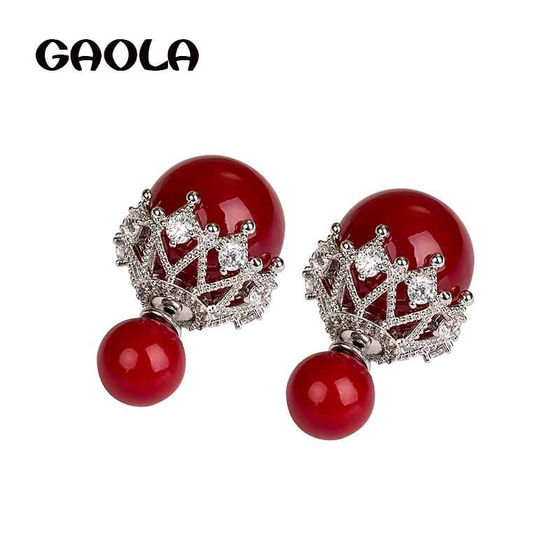 GAOLA New Design NEW Arrival Classic Pearl Round Cubic Zirconia Stud Earrings For Women GLE5689Y