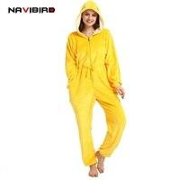 Adult Unicorn Kigurumi Unisex Flannel Zipper Yellow Warbler Cosplay Costume Winter Animal Pajamas Women Cartoon Onesie