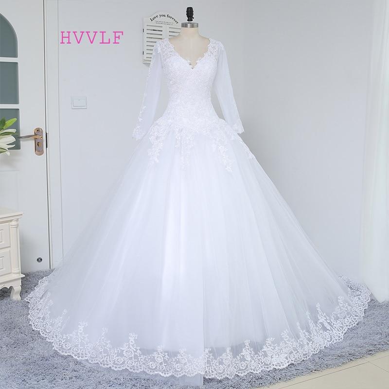 Vestido De Noiva 2019 Vestidos de boda musulmanes Una línea de cuello en V Mangas largas Apliques Encaje Vestido de novia de la vendimia Vestidos de novia