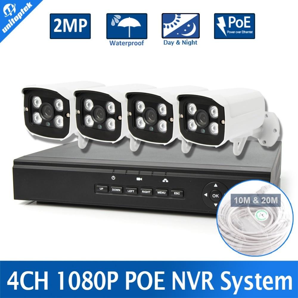 HD 4CH 1080P POE NVR system Kit Bullet 1080P IP Camera Onvif Kit P2P Surveillance Network Home CCTV Camera Security system 16ch poe nvr 1080p 1 5u onvif poe network 16poe port recording hdmi vga p2p pc
