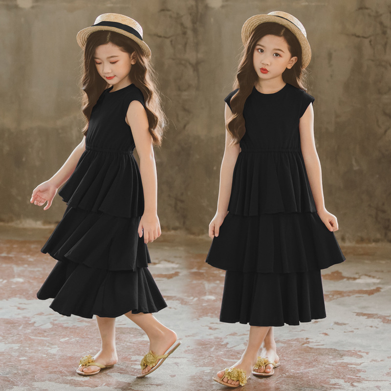 Teen Girl Children Layered Dress Black Vest Cotton Beach Kids Dresses for Girls Clothes Kids Costume 10 12 14 Years 2019 Summer in Dresses from Mother Kids