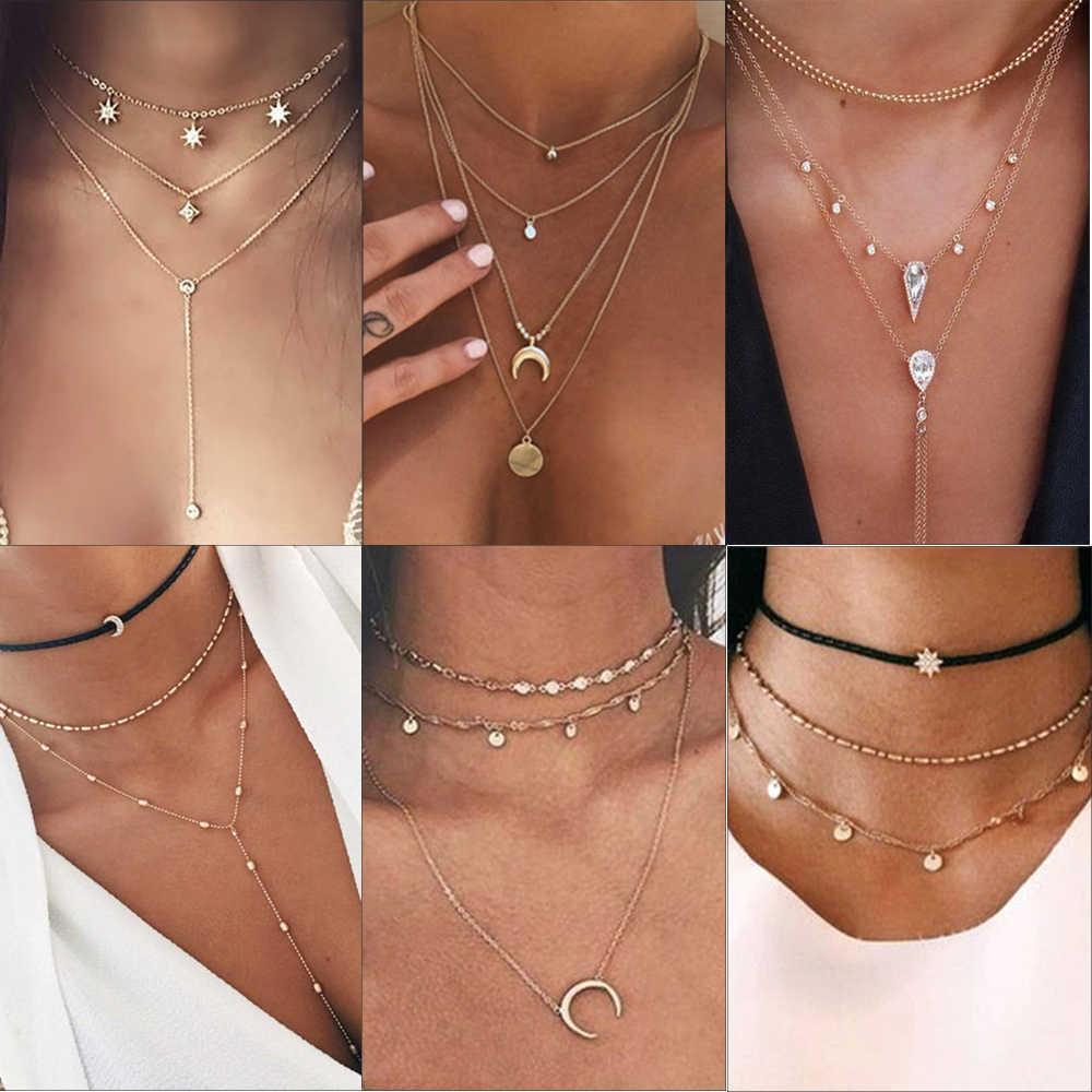 Si moi Vintage multicouche cristal pendentif collier femmes couleur or perles lune étoile corne croissant tour de cou colliers bijoux nouveau