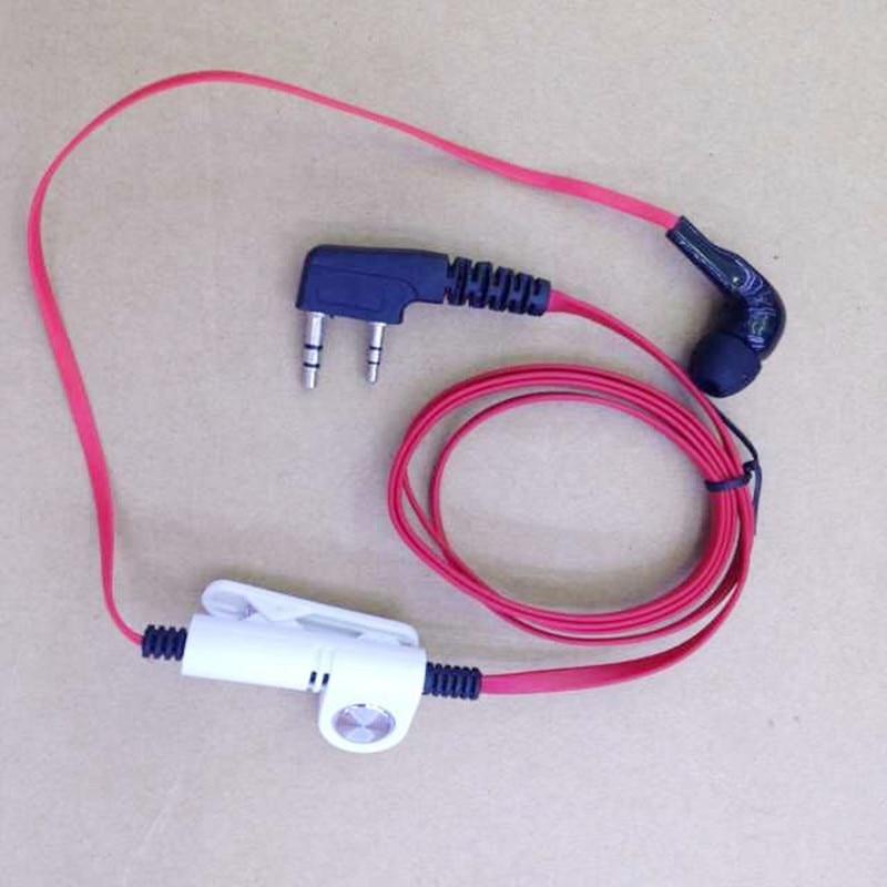 Honghuismart Mode Rode kleur in ear headset oortelefoon 2 pins K plug voor baofeng kenwood puxing tonfa baofneg tyt weierwei etc