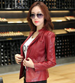 leather jacket women spring and autumn slim short design motorcycle jacket  young girls red pink and green leather jackets 970