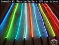 1 м/3 м/5 м Sewable EL Провода Электронов Свечение Провод Легко Шить Тег гибкие светодиодные Неоновые Полосы + 12 В автомобиля инвертор драйвер Бесплатно доставка