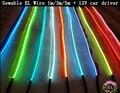 1 m/3 m/5 m EL Alambre Sewable Tron de Hilo Incandescente Fácil Coser Etiqueta flexible Neon Tira led + 12 V inversor del coche Libre Del conductor gratis