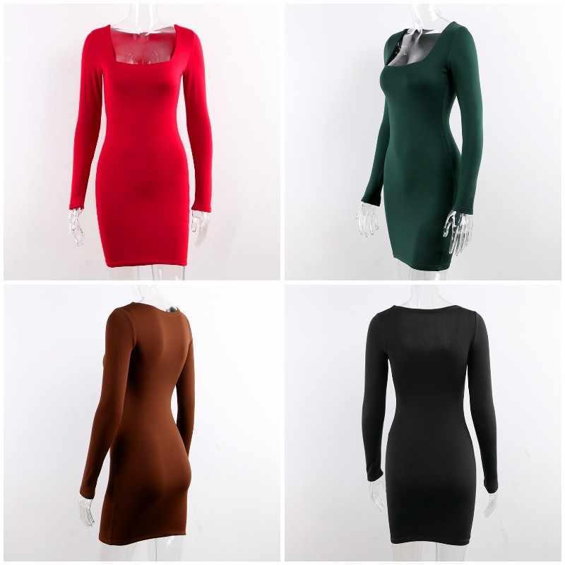 Forefair, сексуальное облегающее женское платье с длинным рукавом, 2019, Клубное, Осеннее, одноцветное, квадратное, с вырезом, белое, красное, черное, женское мини-платье, зимнее