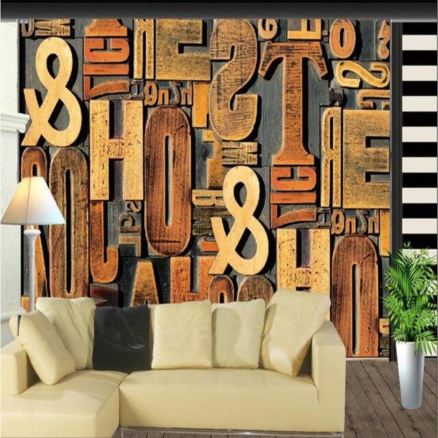 Benutzerdefinierte 3d Fototapete Wohnzimmer TV Hintergrund 3D Holzschnitzerei Brief Englisch Alphabet Design Tapeten