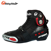 RidingTribe Durable Slip-gear Motorcycle Shoes Short Boots Knight Motorcycle Road Racing Shoes for Men and Women Black