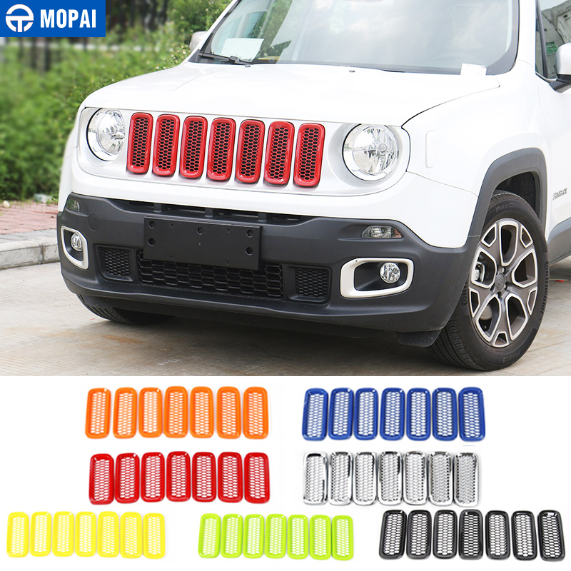 MOPAI ABS Car Exterior Front Insert Grille Cover Decoration With Net Stickers For Jeep Renegade 2015 2017 Car Styling-in Styling Mouldings from Automobiles & Motorcycles