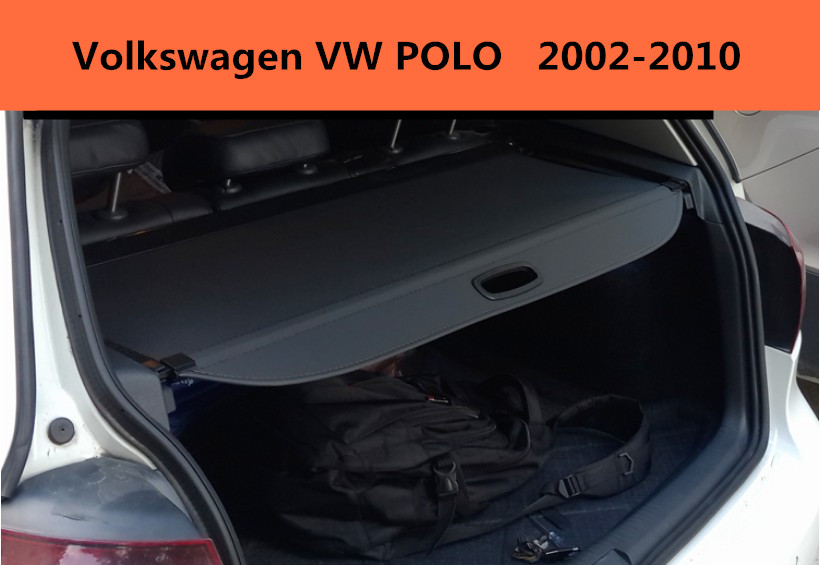 Car Rear Trunk Security Shield Cargo Cover For Volkswagen VW POLO 2002-2010 High Qualit Black Beige Auto Accessories car rear trunk security shield shade cargo cover for toyota highlander 2009 2010 2011 2012 2013 2014 2015 2016 2017 black beige