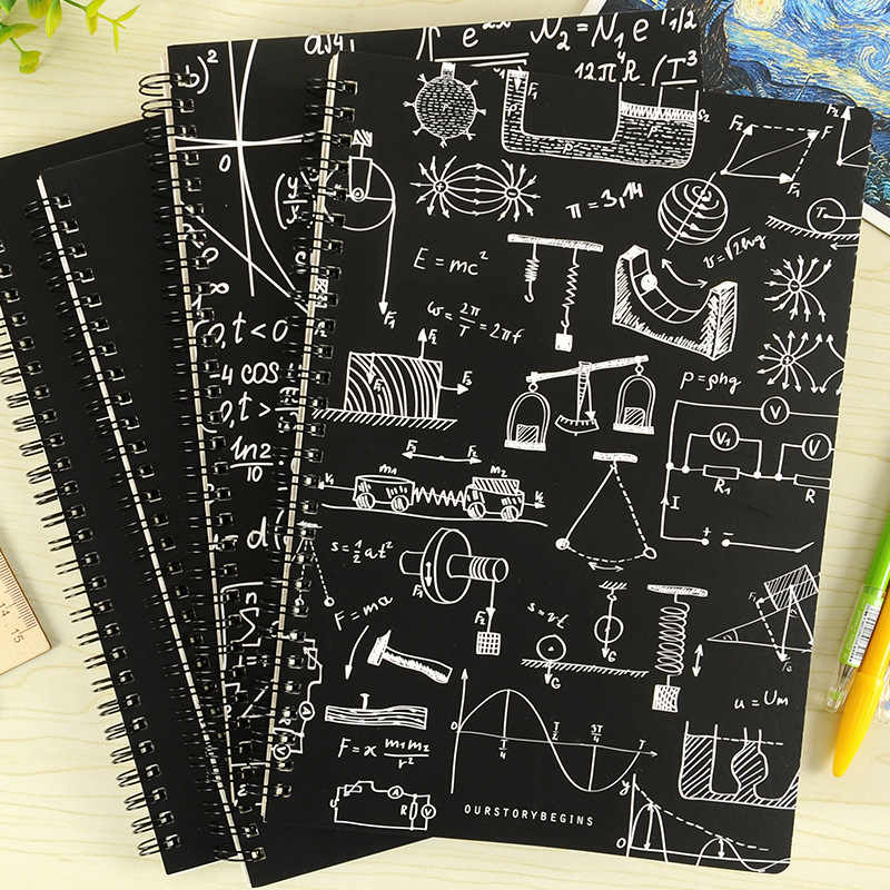 Fashion Office School Notebook Creative Physics Math Formula Daily Plan  Notepad Simple Blackboard Cover A5 B5 68 Sheets Notebook