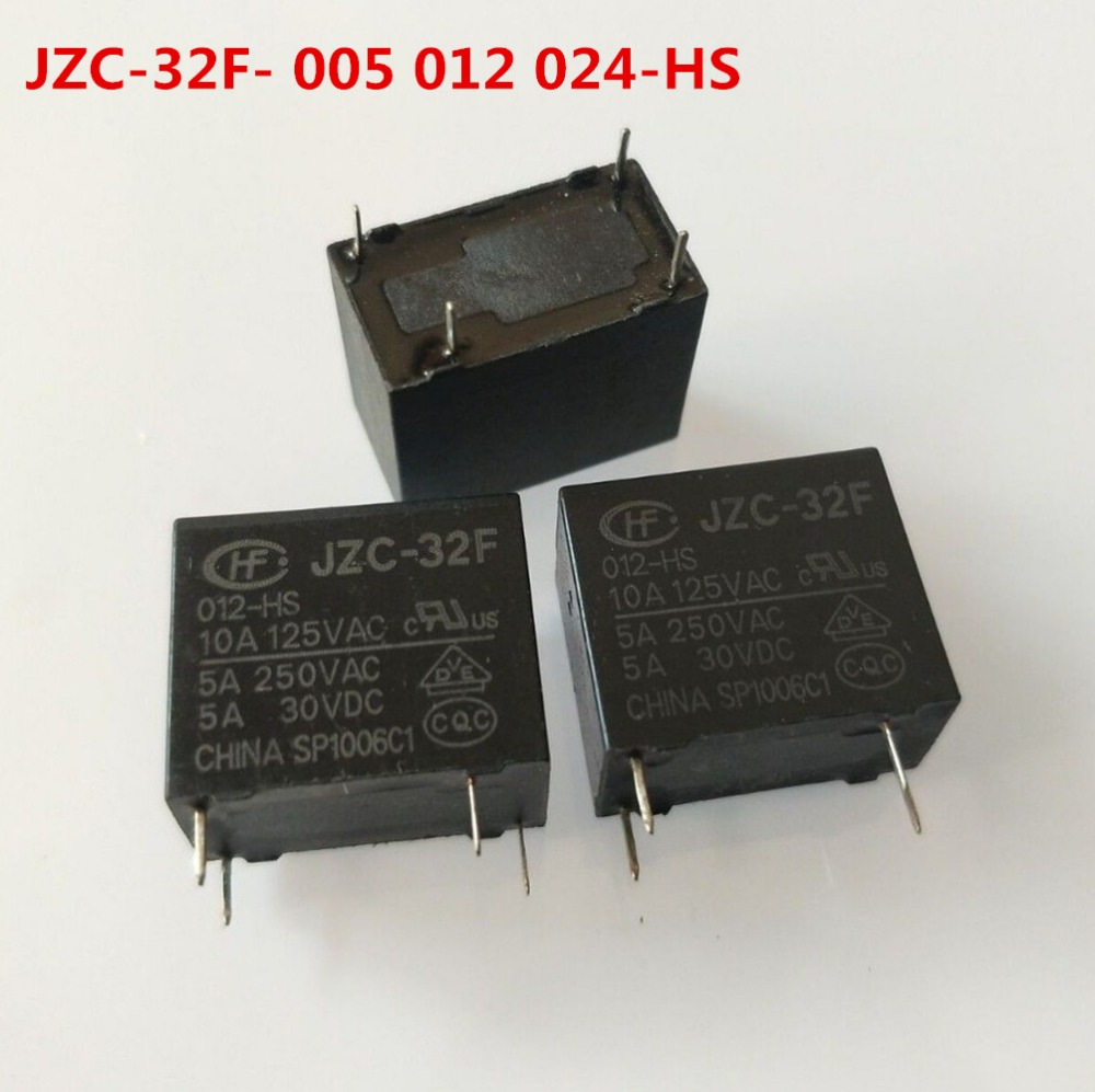 5Pcs HF32F-G//012-HS 4 Terminal NO SPST Power Relay 12VDC 250VAC 10A