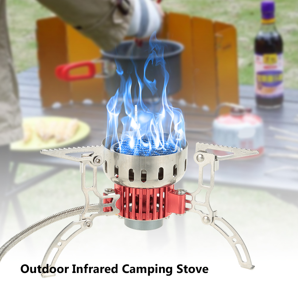 3500W Mini Outdoor Stove Ultralight Infrared Camping Stove Portable Furnace Collapsible Windproof Gas Stove For Cookout Picnic