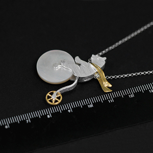 Image 3 - Lotus Fun Real 925 Sterling Silver Handmade Design Fine Jewelry Cute Bicycle Riding Bear Pendant without Necklace for Women