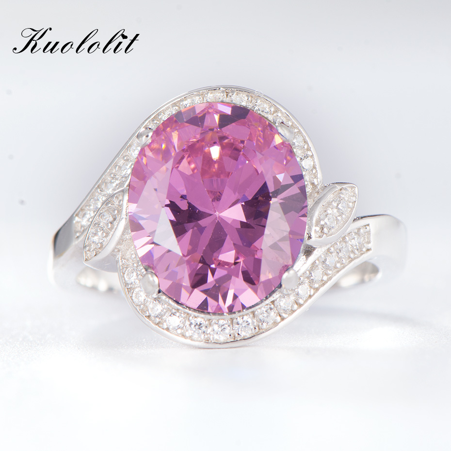 Kuololit Created Pink Topaz Rings for Women 100% 925 Sterling Silver Ring for Women Wedding Anniversary Fine Jewelry New SalesKuololit Created Pink Topaz Rings for Women 100% 925 Sterling Silver Ring for Women Wedding Anniversary Fine Jewelry New Sales