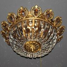 Традиционный стиль роскошь дизайн медь лампа роскошь кристалл медь чистый утапливаемая установка люстра