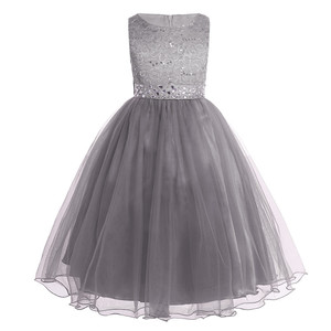 Image 4 - Kids Girls Sequined Lace Mesh Party Princess Dress Flower Girl Dress Children Prom Ball Gowns Wedding Birthday Formal Dress