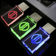 Top Quality  Pen drive, 3 Color LED Pen drive, Crystal USB Flash Drives for NISSAN Car Logo 4GB 8GB 16GB 32GB USB 2.0 Flash