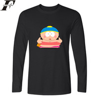 LUCKYFRIDAYF Cartoon Sitcoms South Park Fashion Black Long T-shirt Hip Hop Long Sleeve O-Neck Funny Graphic Tshirts Black White
