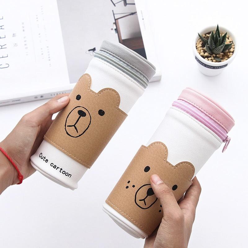 Fruit Pen Holder Cute Bear Emotion Face Cartoon Pencil Bag Kawaii Stationery Zipper Pencil Case Cup Shape Pen Bag Pouch Gift TT