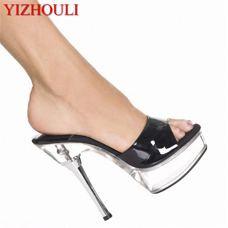 14cm Sandals Heel Summer Dress Shoes Woman Chain Open Toe Shoes Woman 5 Inch High Heeled Evening Sandals High Heels Slippers lynskey woman party shoes sandals sexy gold silver high heeled shoes slippers open toe heel high summer pumps