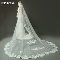 2017 New Arrival Full Applique Edge Cathedral Wedding Veil With Beads Voile Mariage Long Luxe Veu De Noiva Longo Com Renda
