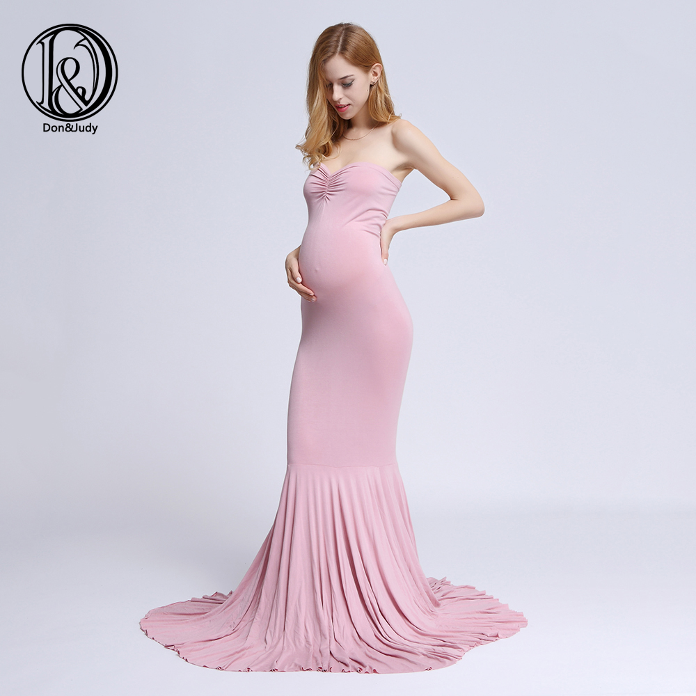 Maternity Dress for Photo Shooting Boob tube Dress Maternty Photography Props Sleeveless Stretch Cotton Pregnant Dress
