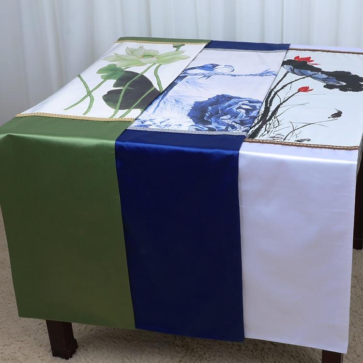 Klasszikus Lotus kínai selyemszövet asztali futó kávéfedők - Lakástextil