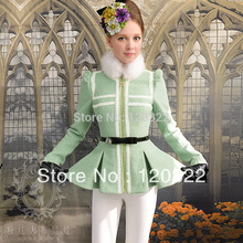 dabuwawa unique New 2016 Brand Autumn and Winter Thick Green Slim Fur Collar Lace Brief Woollen Coats Jacket Wome Wholesalen