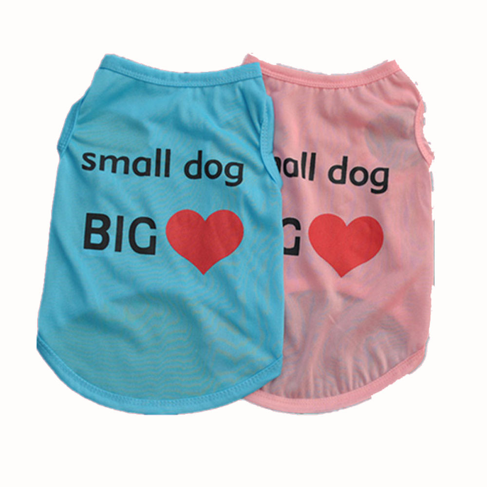 MUQGEW Dog Clothes Fashion Summer Cute Pet Vest Puppy Printed 100% Cotton T  Shirt XS/S/M/L Spring Heart Print Lovely costumes-in Dog Vests from Home &