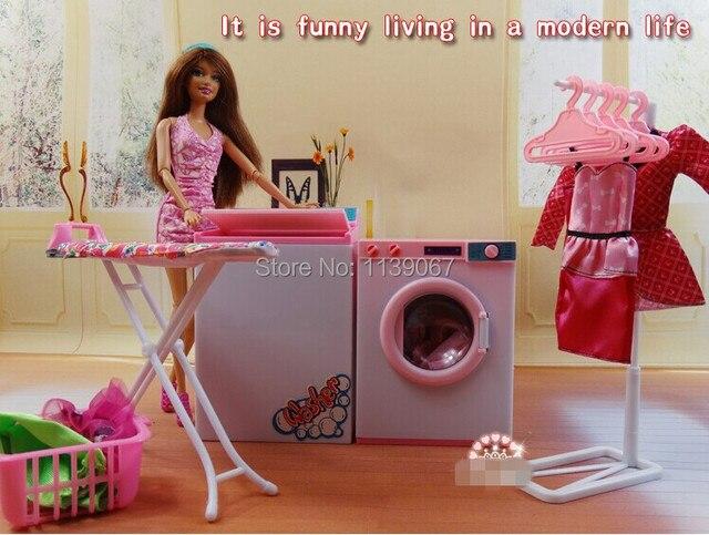 Wit en roze poppenhuis wasserij center reeksen wasmachine for Poppenhuis voor barbie
