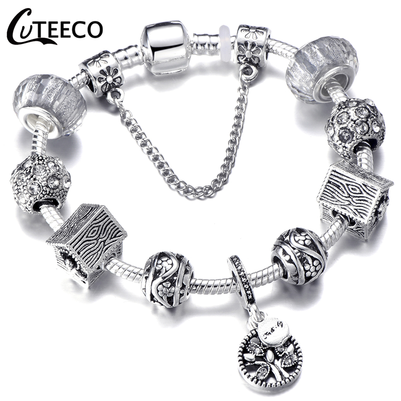 HTB1U9xOdW1s3KVjSZFAq6x ZXXaA - CUTEECO Antique Silver Color Bracelets & Bangles For Women Crystal Flower Fairy Bead Charm Bracelet Jewellery Pulseras Mujer