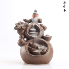 Gourd purple smoke backflow incense ceramic creative ornament Buddha Buddhist supplies felicitous wish of making money G