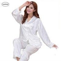 White Silk Pajamas Women Long Sleeve Pajama Sets Spring Summer Chinese Silk Pyjama Satin Pajamas Set