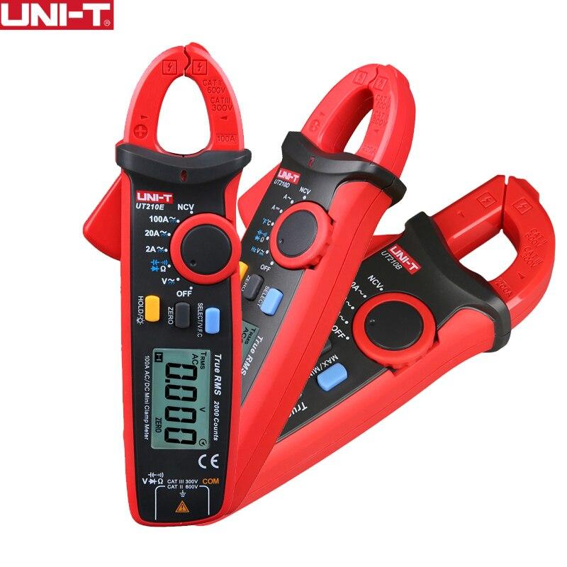UNI-T UT210E Alicates Amperímetros Digitais True RMS Mini AC/DC Tensão Corrente Capacitância Sem Contato Multímetro Gama Auto VFC tester