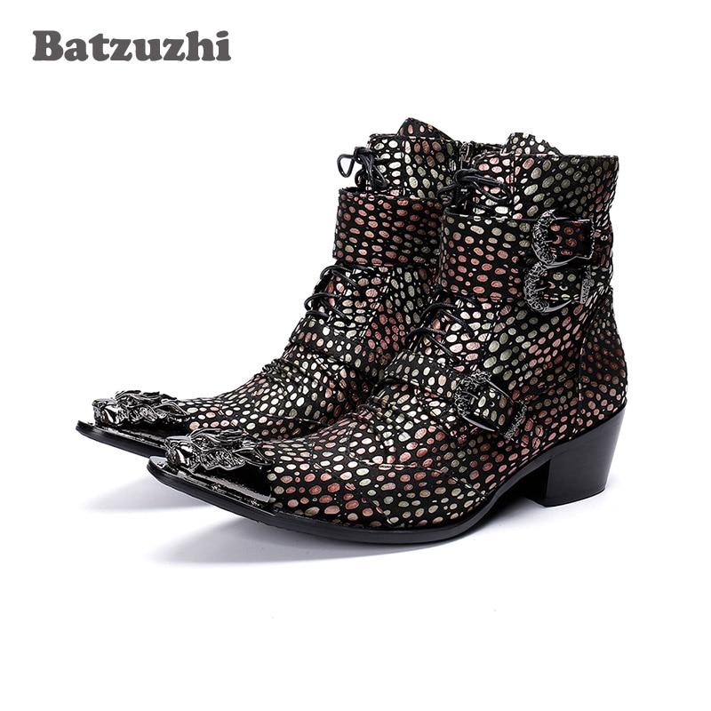 Batzuzhi Handmade Western Cowboy Boots Men Pointed Iron Toe Color Leather Motorcycle Boots Men Botas Hombre 6.5cm Heels Buckles
