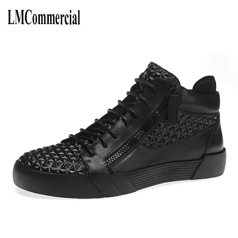new autumn winter British men high leather shoes embossing Kobron personality trend of Korean leisure shoes breathable sneaker new autumn winter british retro men shoes red new shoes all match 2017 male korean men s leather high boots breathable fashion