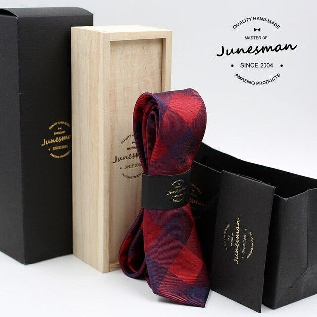 2016 новый красный плед формальный бизнес галстук человек моды kravat мужчины свадьба галстуки гент mariage шеи галстук муж подарок коробка