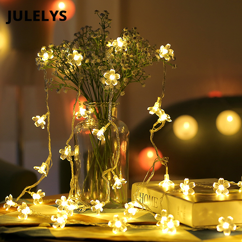 JULELYS 30M 300 Bulbs Garland LED Cherry Fairy Lights String Wedding Holiday Party Christmas Decorations Home Room Chain Light