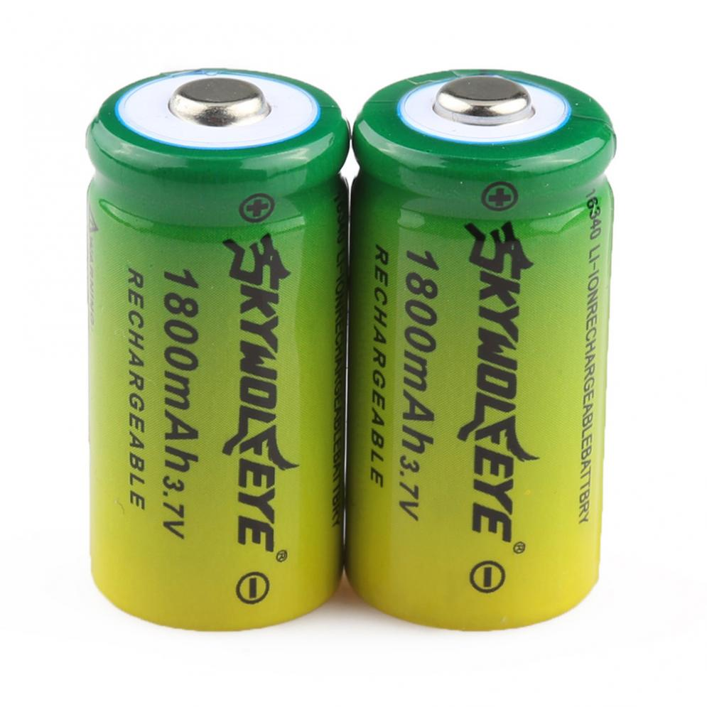 2pcs/lot SKYWOLFEYE 16340 CR123A LR123A 3.7V 1800mAh Rechargeable Li-Ion Battery New Arrival
