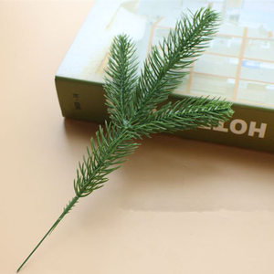 Image 2 - 50Pcs Artificial Pine tree branches plastic pine leaves for Christmas party decoration faux foliage fake flower DIY craft wreath