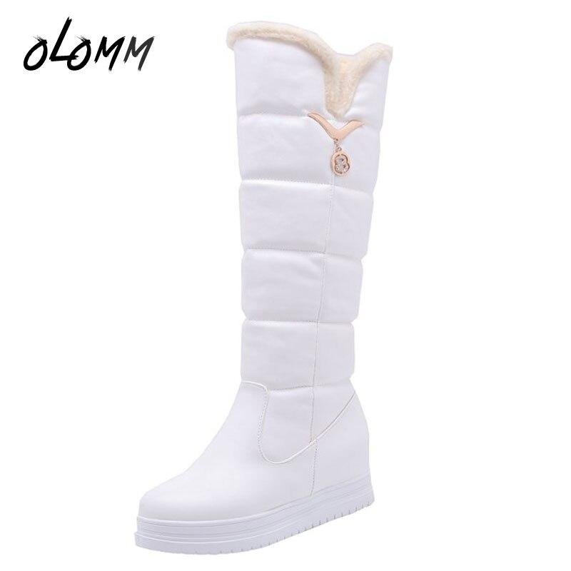 1ab090ed Felpa Aumento Botas Zapatos Grande Nieve Tacones Copo Toe Plataforma Mujeres  Altura blanco Med Redonda rosado Negro ...